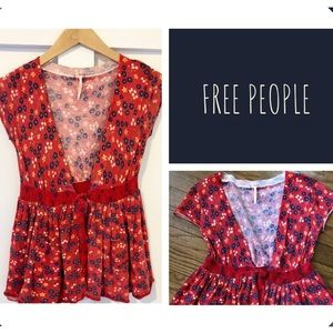 Free People Red Floral Tie-Front Cardigan XS